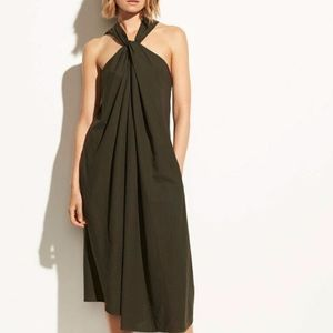 VINCE Pinon Olive Green Twist Front Halter Cotton